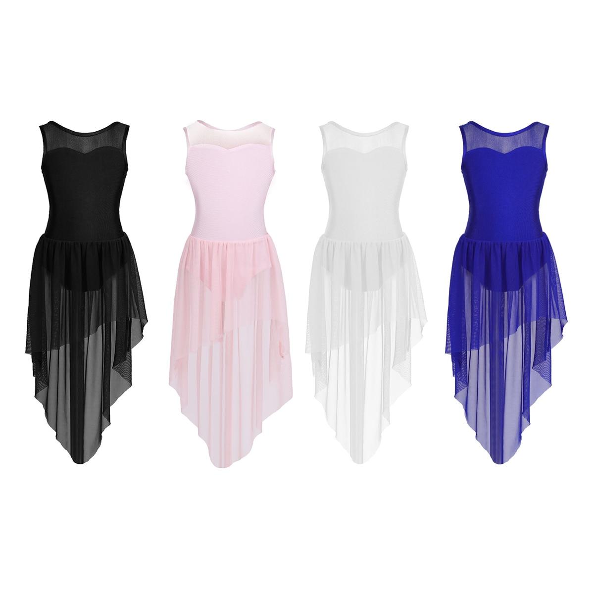 MSemis Girls Shiny Sequins Camisole Ballet Tutu Dress Gymnastics Leotard Lyrical Latin Jazz Modern High Low Dance Dress