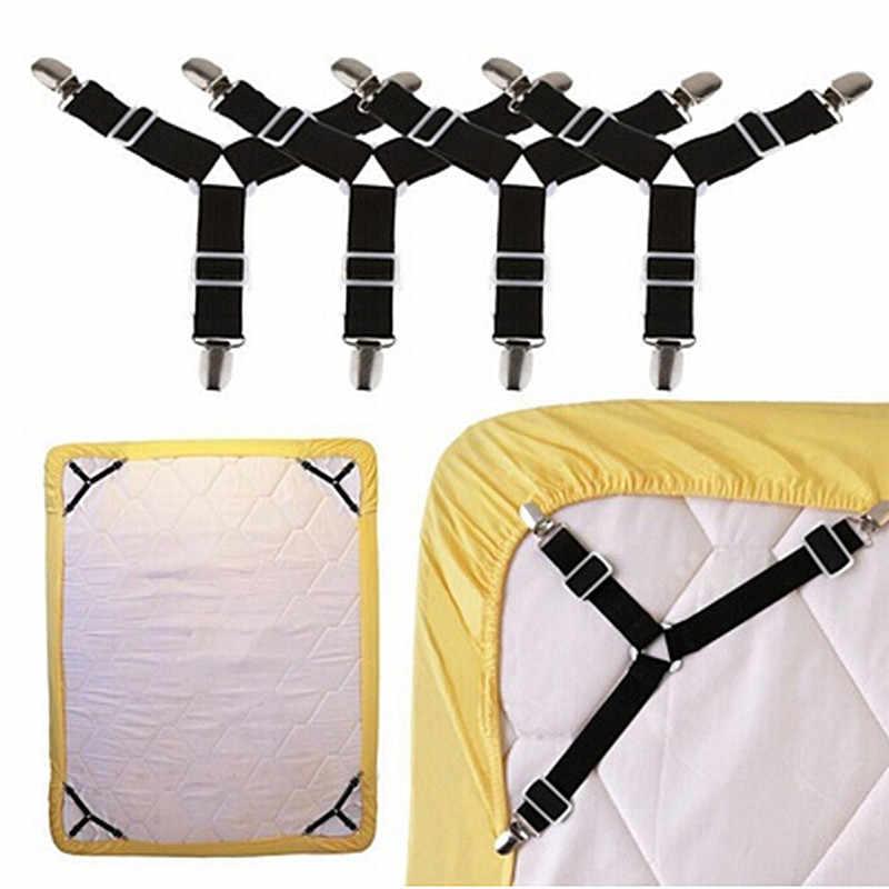 2/4 Pcs สีขาวสีดำตัวยึดยืดหยุ่นที่นอนผ้าห่มแผ่น Grippers