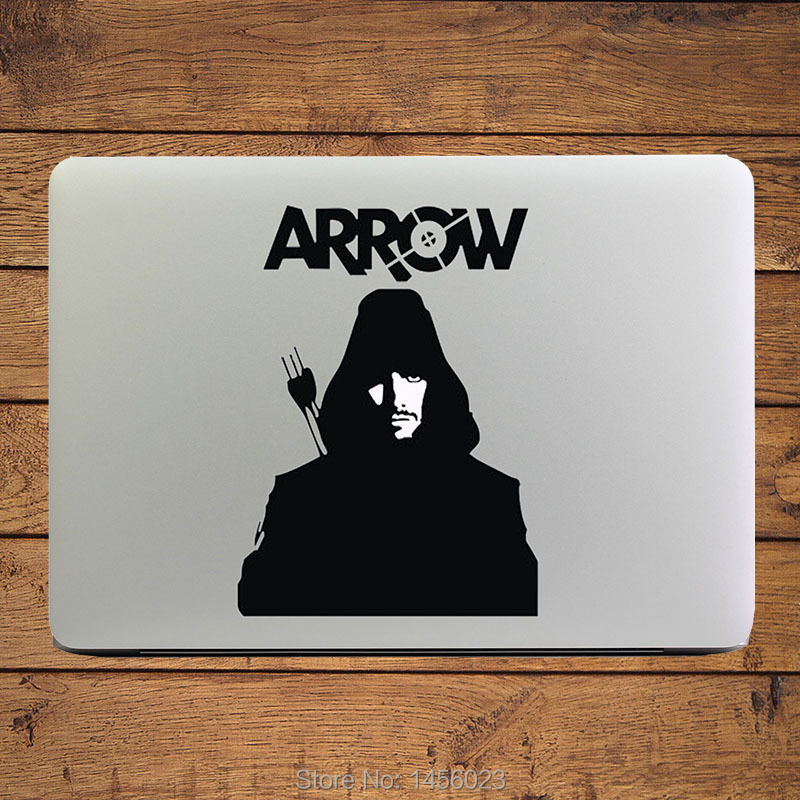 Green arrow superhero cool design laptop decal for macbook sticker air pro retina 11 12 13 mac pc notebook diy vinyl sticker in laptop skins from