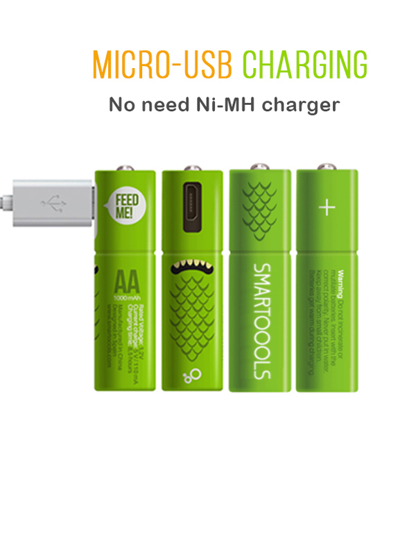 Micro USB Rechargeable AA Battery Ni-MH Pre-Charged Batteries for Toys,Game Controller,Wireless Mouse, Free Cable included