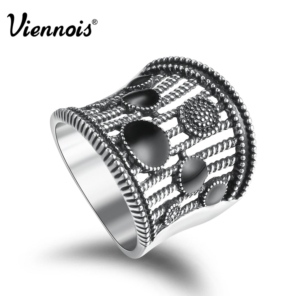 Viennois Gold/Silver Color Vintage Size Rings for Woman Black Enamel Crafts Wide Finger Rings Hollow Out Party Ring Jewelry
