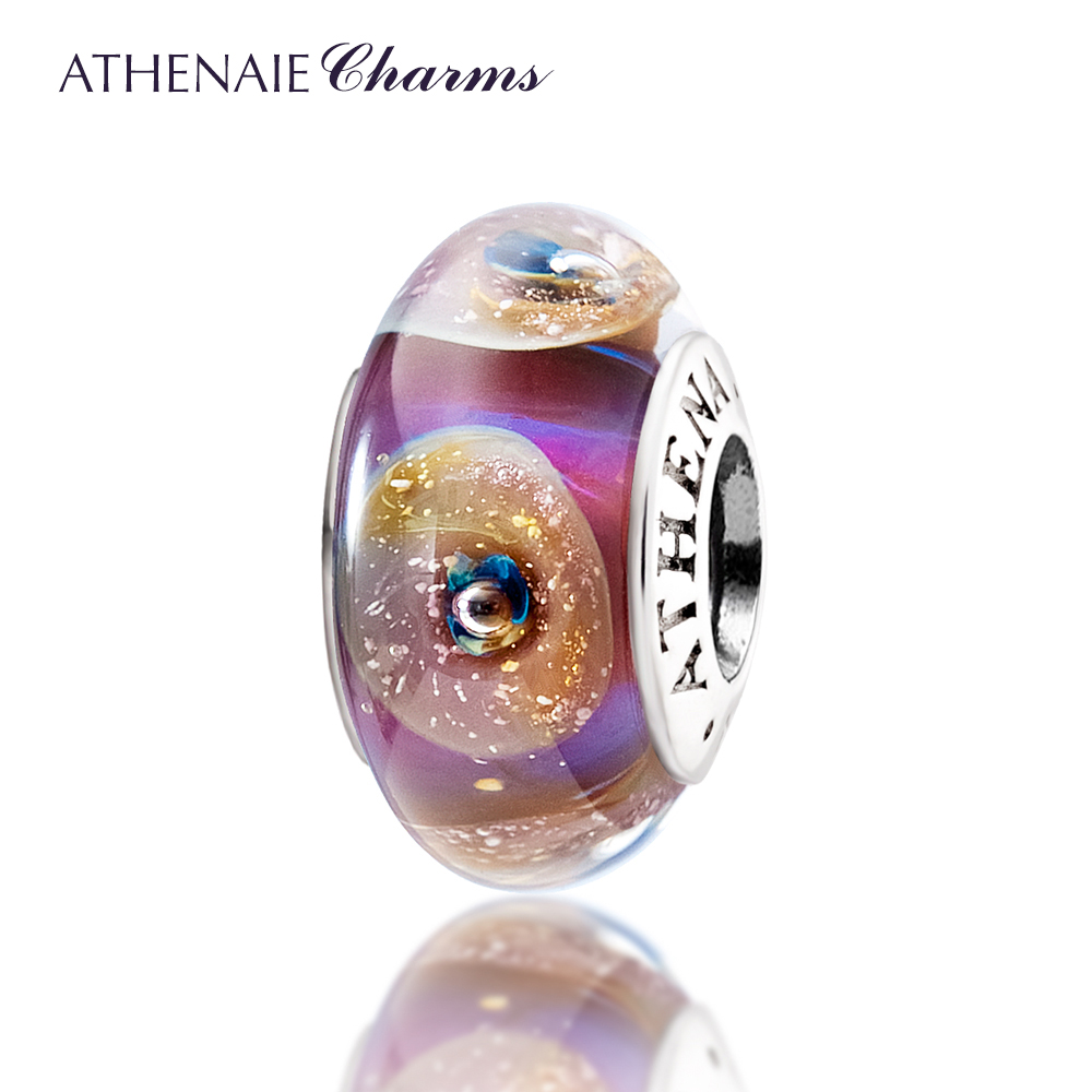 Athenaie Genuine Murano Glass 925 Silver Core Gold Sand Charms Beads Fit All European Bracelets Color Pink Gift For Women Girl Jewelry & Accessories Beads
