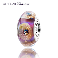 ATHENAIE Genuine Murano Glass 925 Silver Core Gold Shell Charms Bead Fit All European Bracelets Great
