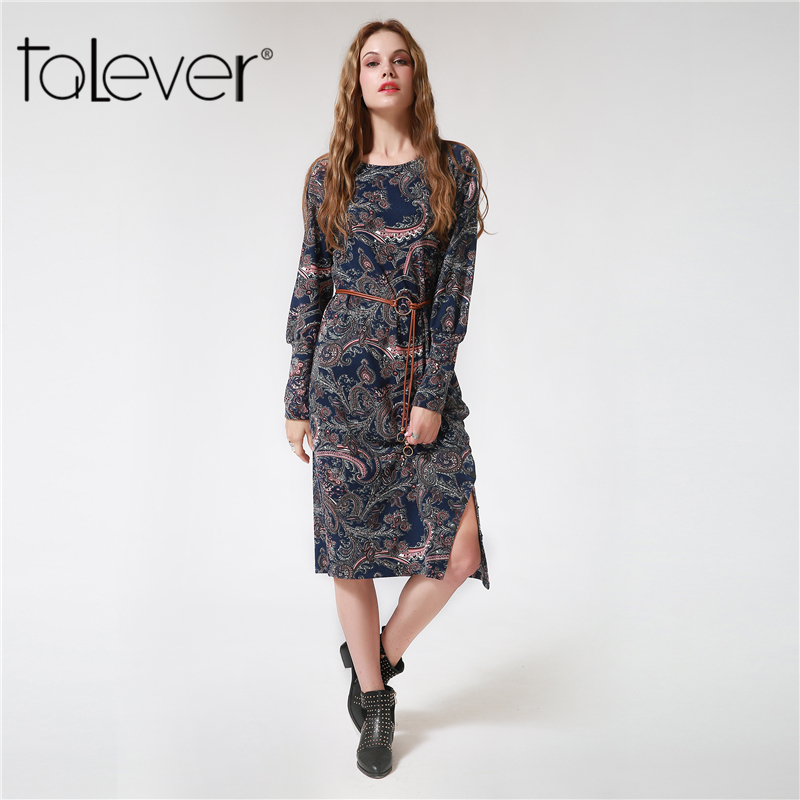 2017 New Fashion Women s Autumn Dress Long Puff Sleeve Printed Flowers Dresses Casual O Neck