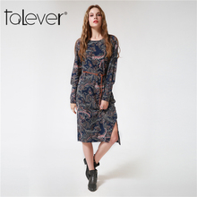 2017 New Fashion Women's Autumn Dress Long Puff Sleeve Printed Flowers Dresses Casual O-Neck Women Bodycon Party Dress Talever