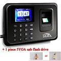 5YA01 + drive usb biométrico de impressão digital soco máquina usb gravador de sensor de escritório de atendimento time clock Inglês Português leitor