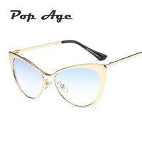Pop Age Wholesale Hotselling Half Frame Cat Eye Sunglasses Women Luxury Brand Designer Sun Glasses Gafas De Sol (A lot 3 Pieces)