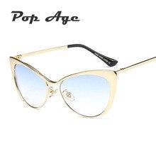 Pop Hotselling Al Por Mayor de Edad Media Frame Cat Eye Sunglasses Mujeres Primera Marca de Lujo Gafas de Sol Gafas de Sol (un lote 3 Unidades)