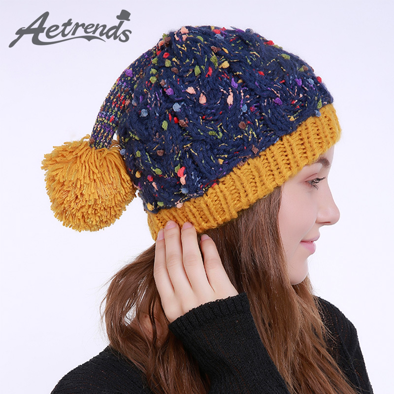 [AETRENDS] 2017 Winter Beanie Hats for Women Warm Knitted Female Caps Beanies Pompom with Top Ball Z-6000 2016 new beautiful colorful ball warm winter beanies women caps casual sweet knitted hats for women outdoor travel free shipping