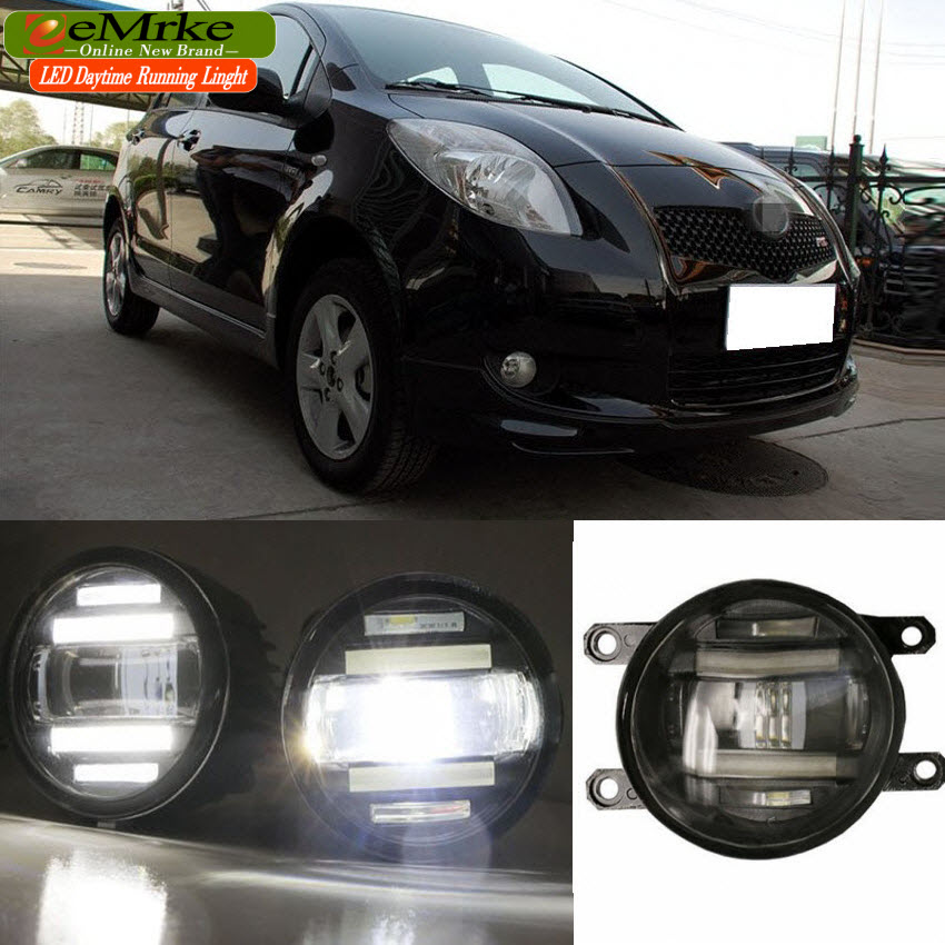 eeMrke Xenon White High Power 2in1 LED DRL Projector Fog Lamp With Lens For Toyota Yaris XP90 XP150 2005-2016