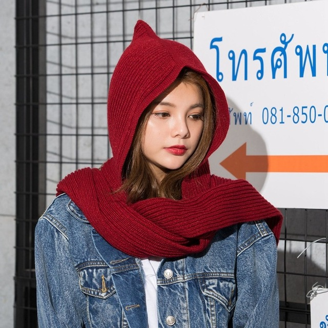 a5998db68 US $7.19 30% OFF|2018 Winter Wool Knitted Earflap Hats Snood Wraps Solid  Crochet Scarves and Hat for Girl Design Women's Hooded Scarf knitted-in ...
