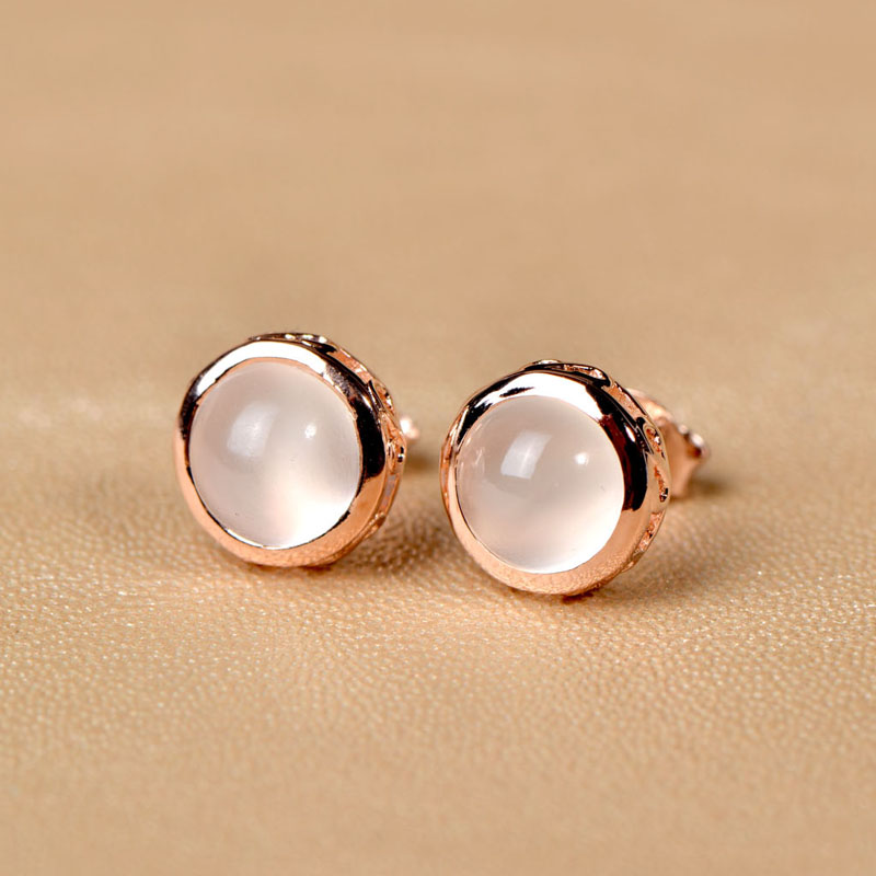 Very Thailand Imported 925 Silver Earrings Natural Moonstone Gold Plated Wild Korean Fashion In Drop From Jewelry Accessories