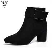 VTOTA Autumn Winter Women Boots Wedges Botas Mujer Martin Boots Solid Color Lady Boots Pointed Toe