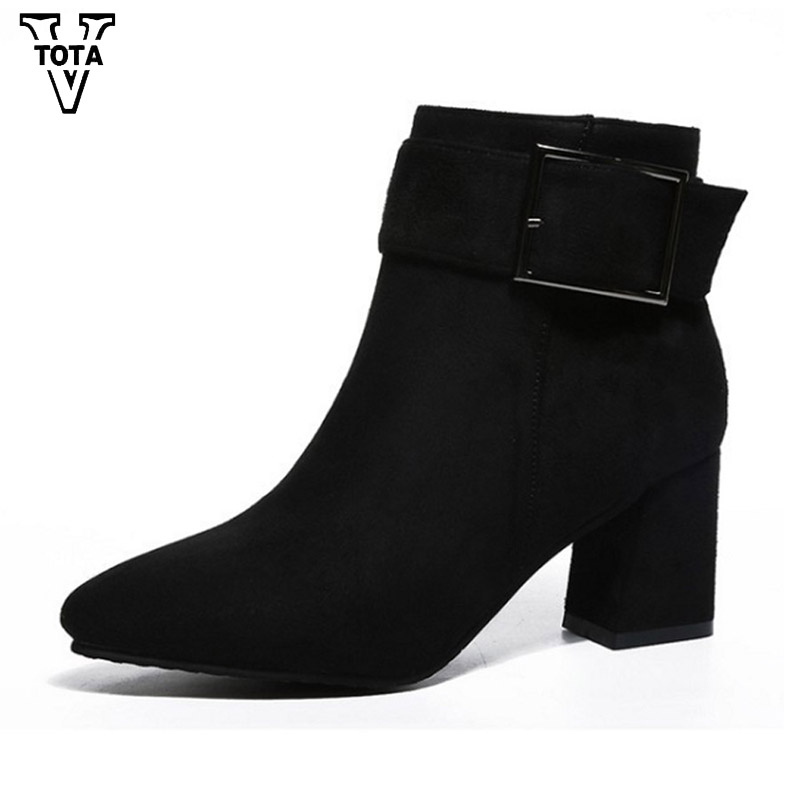 VTOTA Autumn Winter Women Boots Wedges Botas Mujer Martin Boots Solid Color Lady Boots Pointed Toe Fashion High Heels Buckle WNM euro fashion women winter botas mujer genuine leather martin mou boots shoes woman pointed toe low heels zapatos mujer huarache