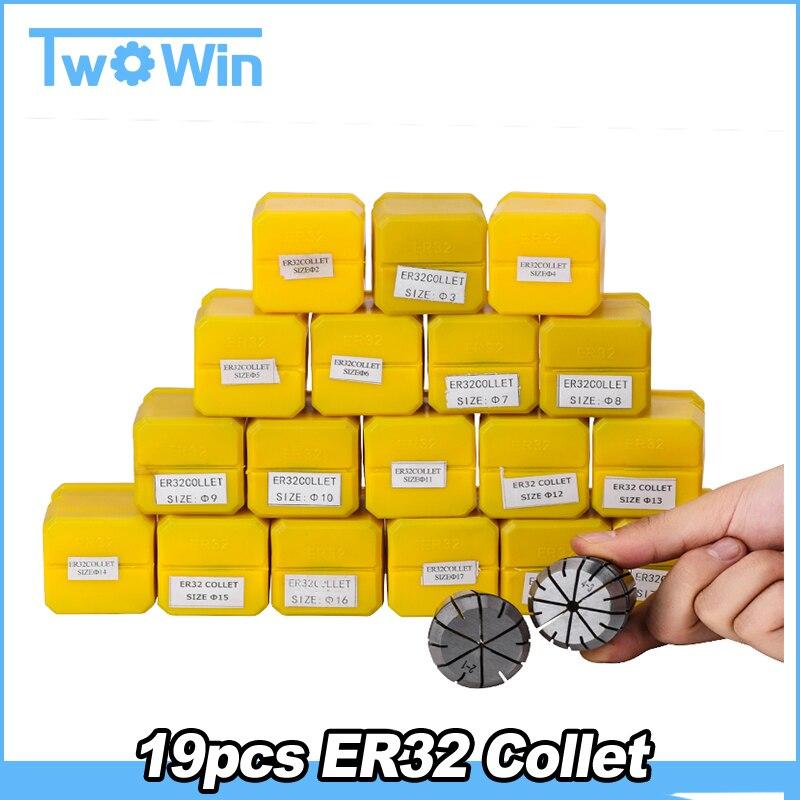 ER32 Collet zestaw 19 sztuk er32 collet chuck frezowanie wrzeciono maszyny tokarka akcesoria do maszyny CNC wysokiej jakości w Zaciski od Majsterkowanie na AliExpress - 11.11_Double 11Singles' Day 1