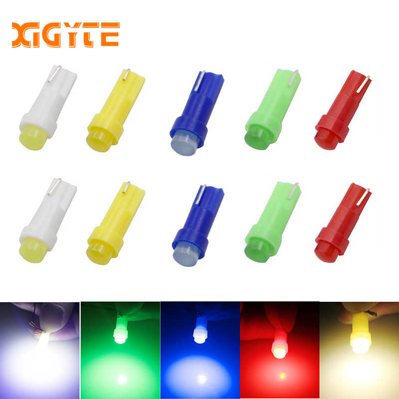 10pc T5 led car dashboard light instrument automobile door Wedge Gauge reading lamp bulb 12V cob smd Car Styling white red