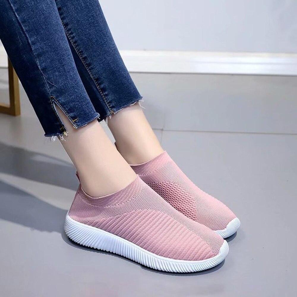Для женщин; большие размеры осенние кроссовки Flyknit женские вулканизированные обувь повседневное слипоны на плоской подошве сетки мягкая