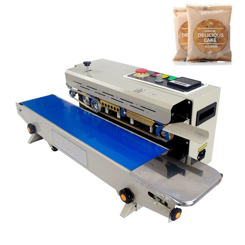 ЮТК 220 В 50 Гц пластиковая пленка закаточная машина для пищевых продуктов + вертикальное уплотнение + принт с датами + уплотнительный пояс