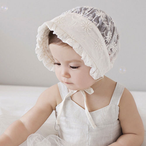 Sweet Princess Hollow Out Baby Girl Hat Lace-up Beanie Cotton Bonnet Floral Cap