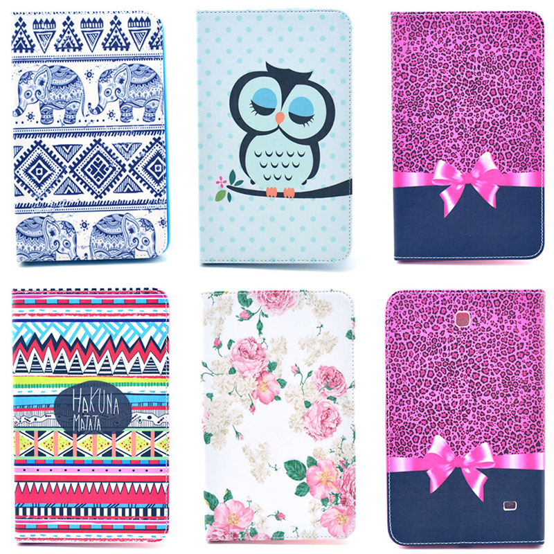Fashion Bowtie Rose Owl Pattern Wallet Flip PU Leather Tablet Back Cover For Samsung Galaxy Tab 4 8.0 T330 SM-T331 Case funda