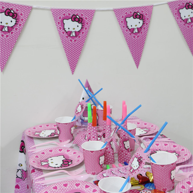 7daa8eae1 85pcs/set Pink Luxury Hello Kitty Party Supplies Kids Birthday Party Packs  Baby Shower Party