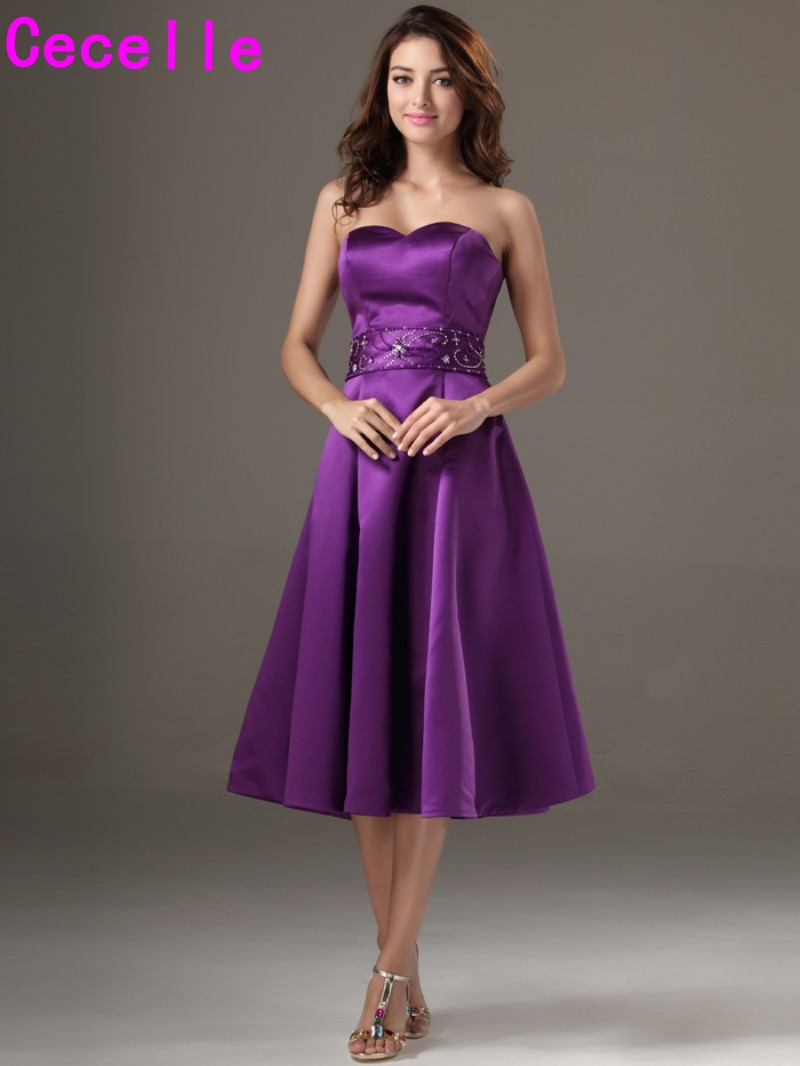 2019 Winter Knee Length Satin Beaded Purple   Bridesmaid     Dresses   Plus Size Wedding Party   Dresses   Country Western   Bridesmaid   Robes