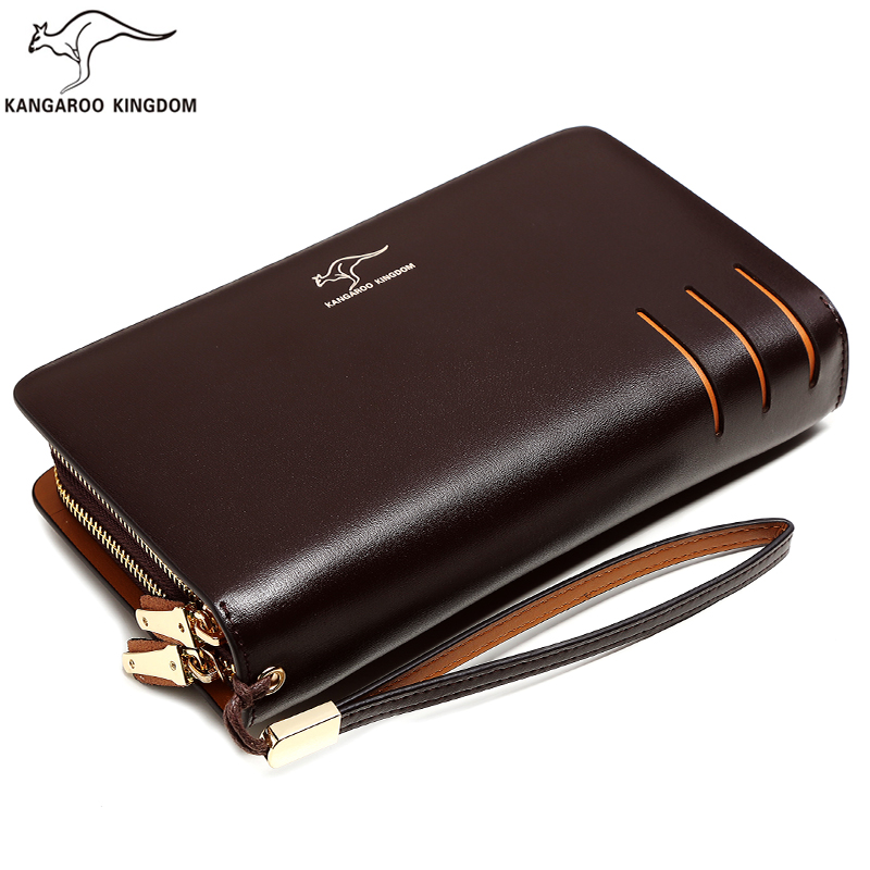Kangaroo Kingdom Men Bag Leather Handbag Male Clutch Bags Double Zipper Clutches Hand Bag for Man