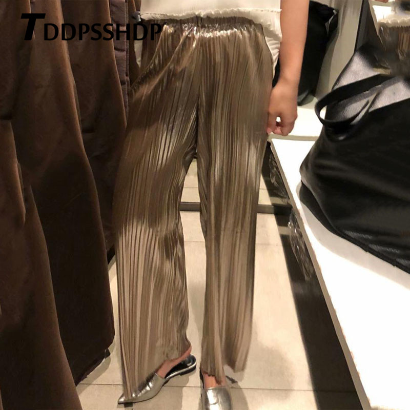 Silver Gold Pleated Women   Wide     Leg     Pants   2019 Elastic Waist Spring Female Trousers