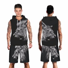 964c29fe62e58 Roaring Lion Impresión de moda negro con capucha deportiva fitness  tracksuits hombres hoodies + shorts