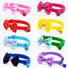 Cute Pets Adjustable Polyester Dog Collars Puppy Pet Collars with Bowknot and Bells Necklace Collar For