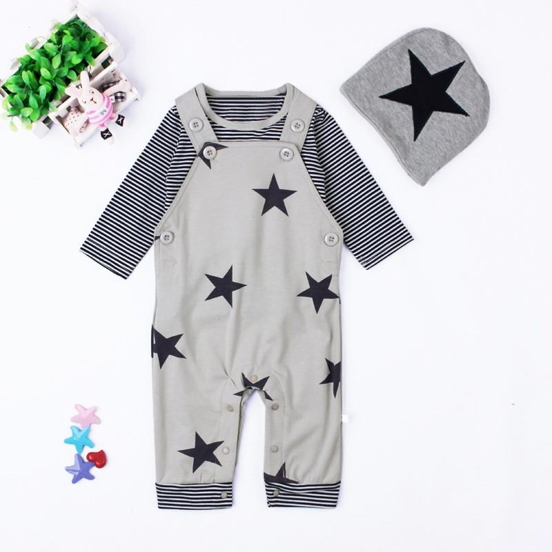 Baby Boys Baby Girls clothing set Newborn baby black grey striated T-shirt+ bib pants + hat stars pattern costumes suits (10)