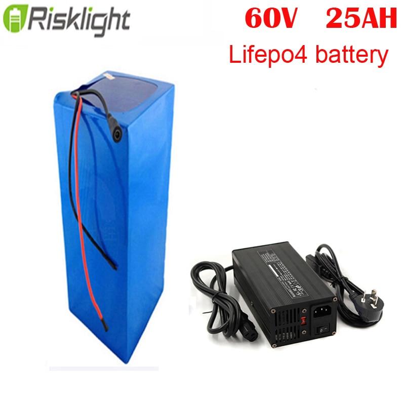 Batterie au lithium 60v 25ah bateria li ion lifepo4 pack 60v 25ah pour scooter électrique citycoco ebike avec chargeur 5A