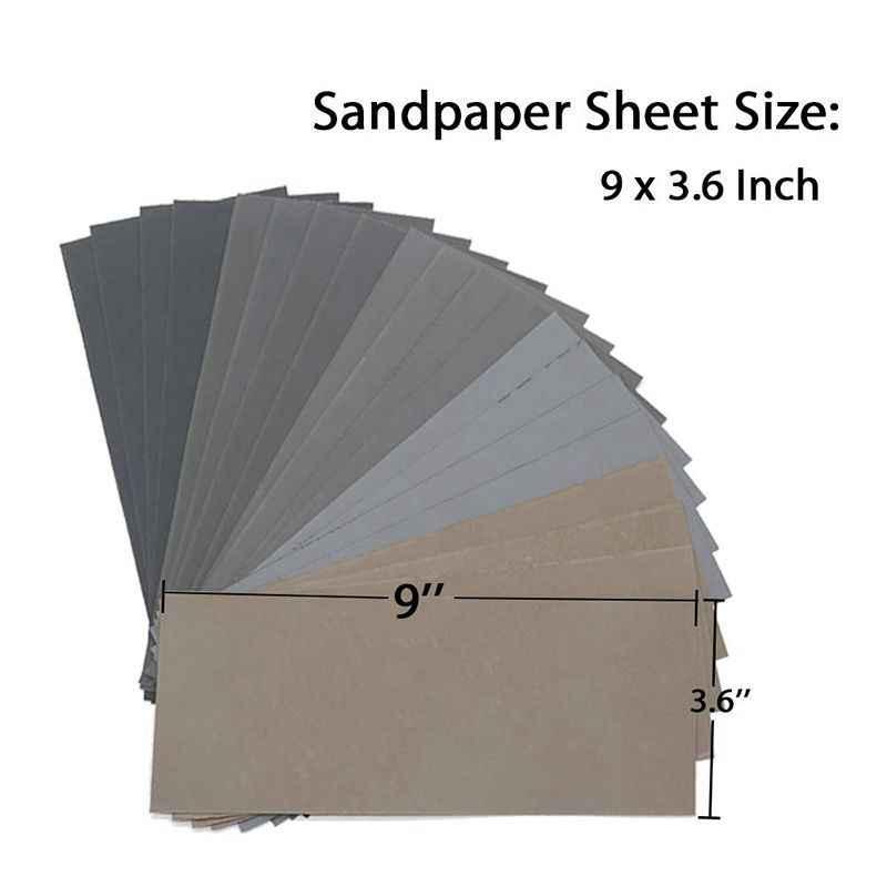 HLZS-20Pcs de lija en seco y mojado, alta arena 1000/2000/3000/5000/7000, surtido de hojas de papel de lija para Pulido de metales de madera automotriz