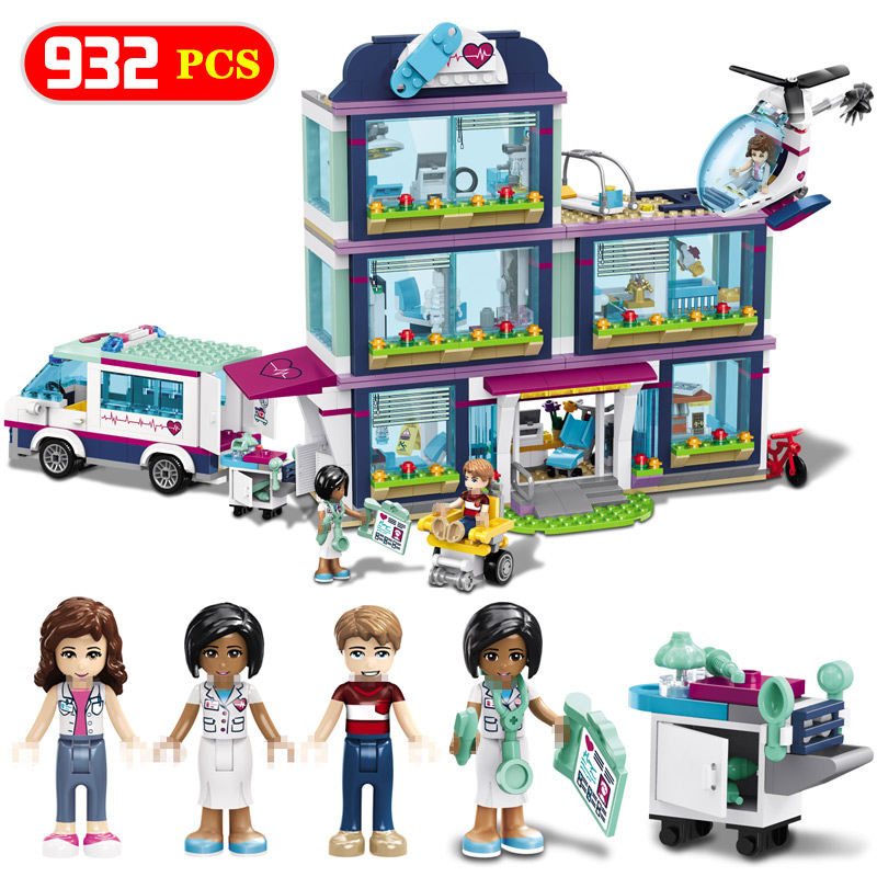 Hospital Girls Compatible Building Blocks Model  With Legoing Friends  Mini Bricks Toys For Children LegoINGLYS Toy Girl 10169 bela pet hospital building blocks toy set friends lepine bricks gift toys compatible with 3188 friends for girl