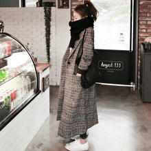 Women plaid long coat long sleeve woollen overcoat loose outwear female winter autumn trench coats plus size(China)
