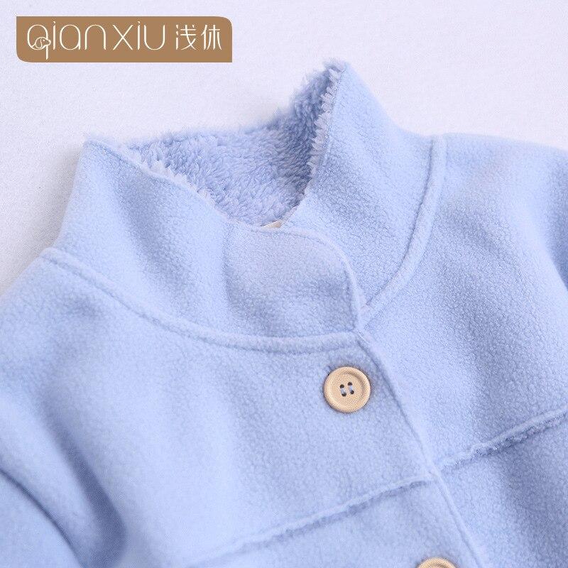 2018 Winter hot koop Vrouwen flanel Thicken warme Pyjama Set Staande kraag Nachtkleding Pak lichtblauw Pyjama casual homewear - 3