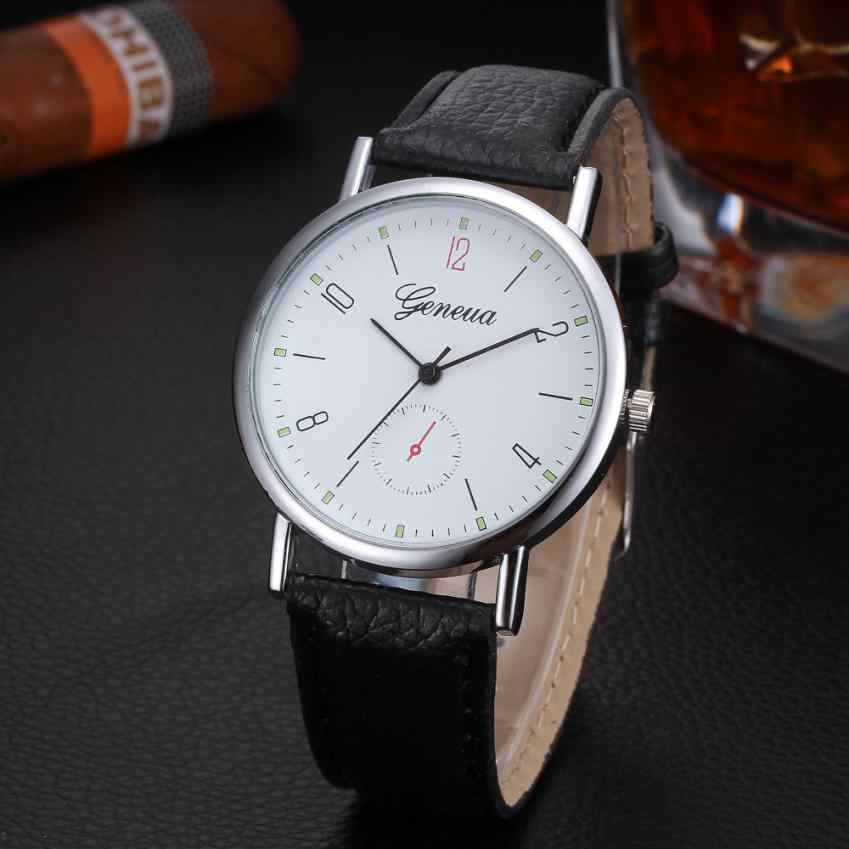 גברים שעון קוורץ האופנה שעון של גברים saat רומי עיצוב דמוי עור אנלוגי שעוני יד relogio masculino reloj hombre חמה
