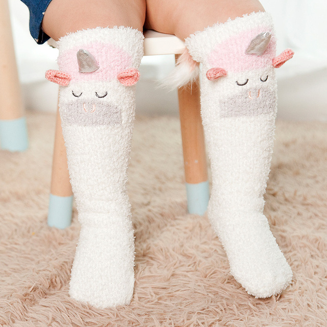 Warm Fluffy Unicorn Design Girl's Knee Socks