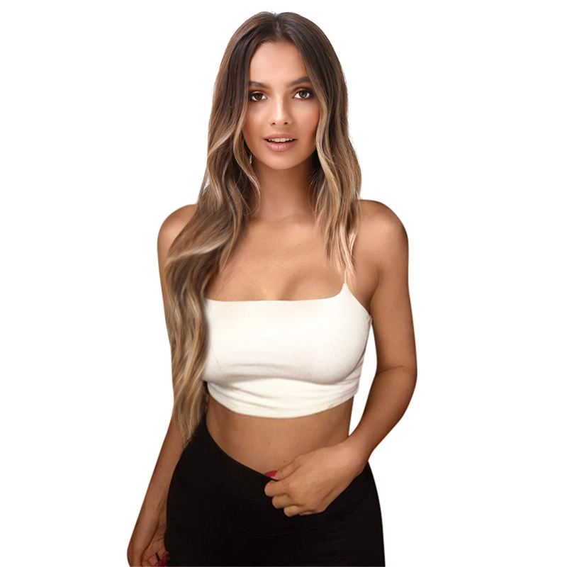 Sexy Solid Crop Top Tank Tops Camisole Soft Sleeveless Women Fitness Camis Bralette Casual White Black Crop Top Woman 2018Summer