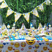 Emoji Expressio Kids Birthday Party Decoration Set Fontes Do Partido Copo Placa Da Bandeira Chapéu de Palha Bag Loot Garfo Talheres Descartáveis(China)