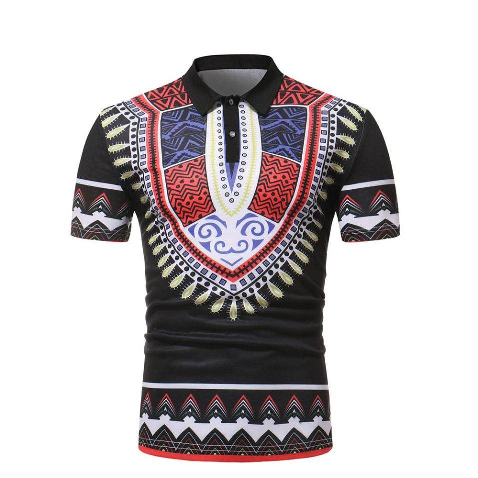 New Fashion Mens POLO Shirt African Style Slim Fit Short Sleeve Printed Tee T-shirt Casual Tops Blouse For Male Drop Shipping