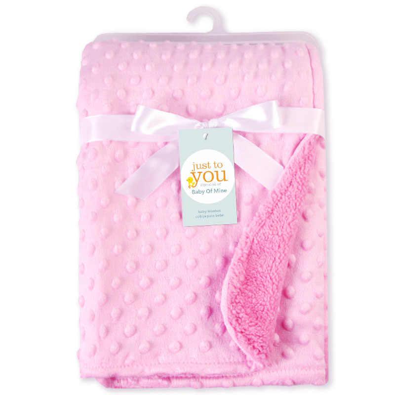 Baby Decke & Windeln Neugeborenen Thermische Weiche Fleece Decke Solide Bettwäsche Set Baumwolle Quilt