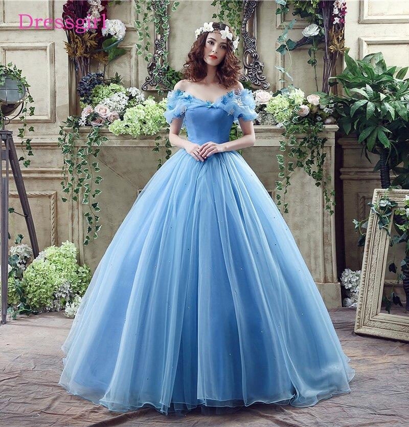 Royal Blue Vestido De Noiva 2019 Wedding Dresses Ball Gown V-neck Cap Sleeves Organza Boho Cheap Wedding Gown Bridal Dresses