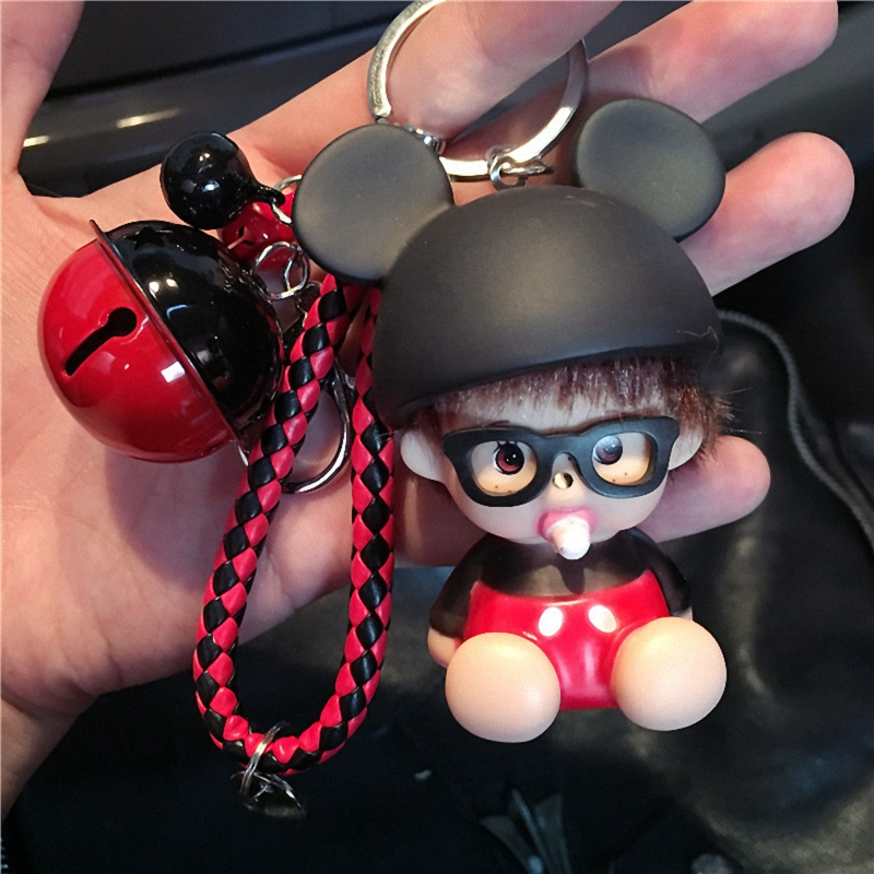 Cute Mickey Minnie Mouse Bee Ladybird Bell Decoration Monchichi KeyChain Kiki Women Bag Charm KeyRing K027-Mickey+BR