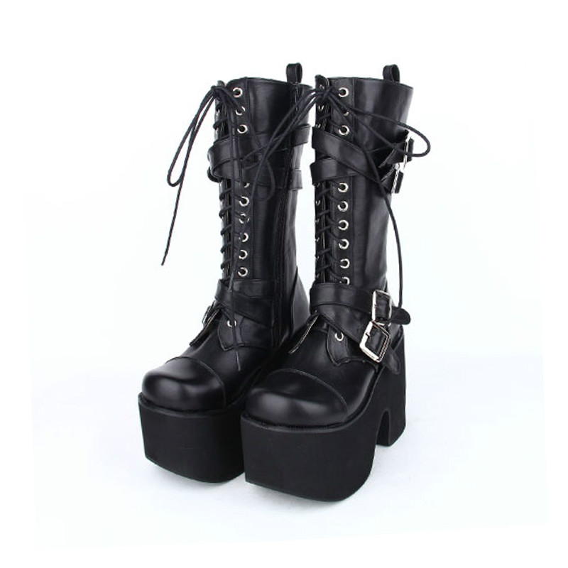 Princess sweet punk shoes Autumn and spring anime boots thick soled platform shoes punk boots super heel cool women pu7002 princess sweet punk shoes japanese summer and spring round head boots cos anime punk super high heel frill muffin boots pu9712