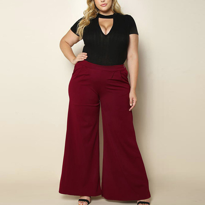 Plus Size Woman Office Ladies   Pants   Large Big Size Bottoms LeisureTrousers All-matched Loose Brief   Wide     Leg     Pants