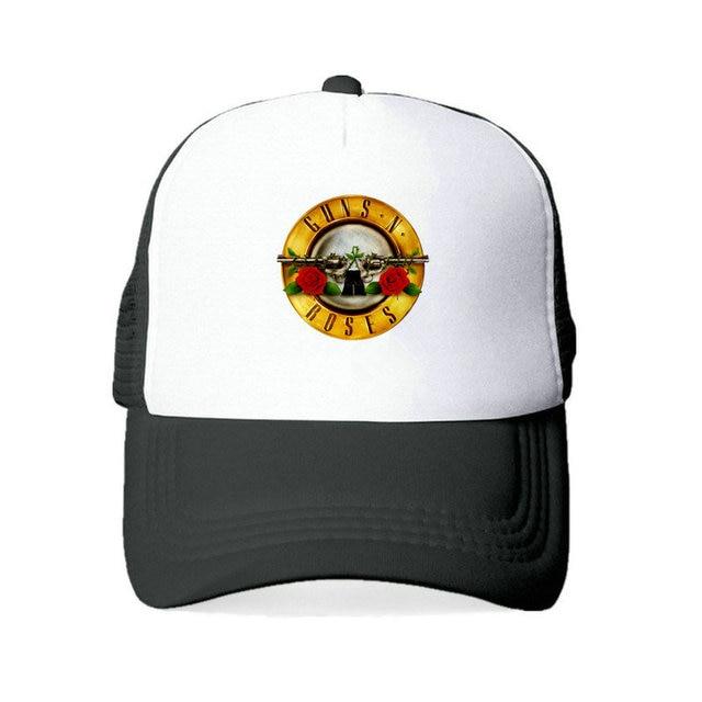 American Hard Rock Band Cap Hat Guns N  Roses Snapback Cap GNR Bullet Black  Trucker 795d6ffe3293