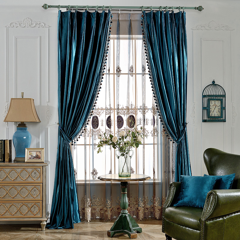 Huayin Velvet Linen Curtains Tulle Window Curtain For: Luxury Europe Style Velvet Curtains Tulle Window With