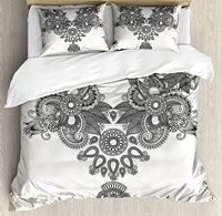Henna Duvet Cover Set Far Eastern Vintage Fashion Ornamental Paisley Abstract Artwork with Oriental Effect 4 Piece Bedding Set