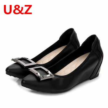 Gray/Black Soft Leather women 4cm pumps,Office ladies must-have middle heel wedges pumps elegant buckle Pink/Apricot shoes Sale - DISCOUNT ITEM  63% OFF All Category